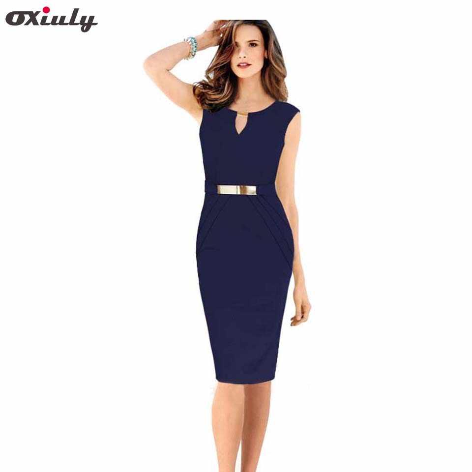 38cf7ec2d4504 Oxiuly Women 2017 Summer Dress Hollow Out Sleeveless Pencil Dress ...