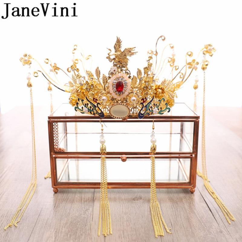 JaneVini Chinese Style Pearl Tiara Wedding Hair Accessories Jewelry Gold Round Crowns Crystal Long Tassel Crown Earrings Set