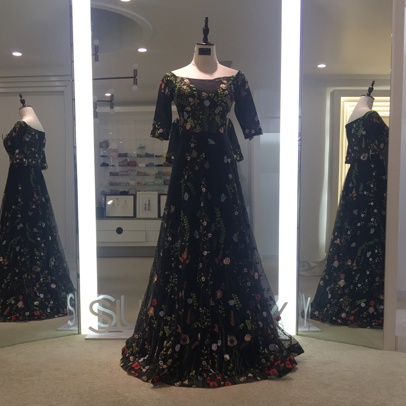 e951f9d13ea6 Sunvary Προσαρμοσμένο Vintage Λουλούδι Κέντημα Νέα Βραδινά Φορέματα ...
