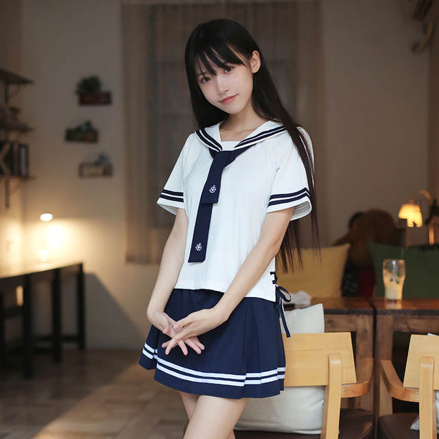 Online Shop Summer Japan And South Korea Navy Style White Sailor Suit Jk Schoolgirl Uniform Ribbon Short Sleeve Uniform Set Aliexpress Mobile