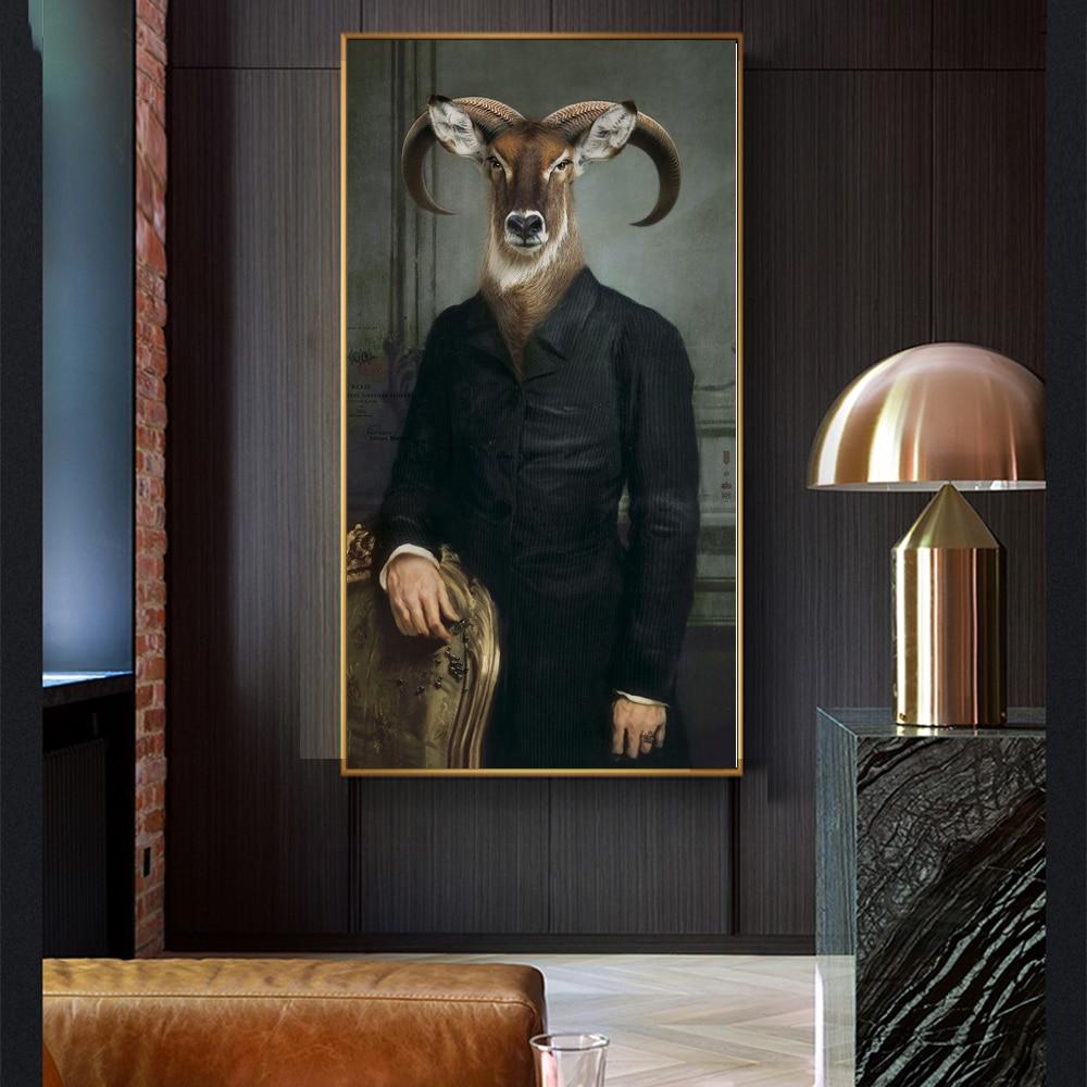 WANGART Canvas Painting Retro Nostalgia Gentleman Oil Paintings Wall Art Ram Animal Poster Prints For Living Room Home Decor