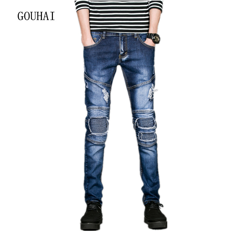 ФОТО Spring Skinny Jeans Men 2017 New Arrival Hole Ripped Jeans For Men Designer Clothes Hip Hop Pantalon Jean Homme High Quality