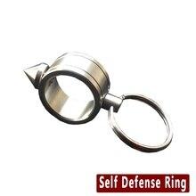 Нержавеющая Сталь EDC Самообороны Поставки Самооборона Шокер Оружия Кольцо Женщины Безопасности Выживание Палец Кольцо С Кольцом для ключей