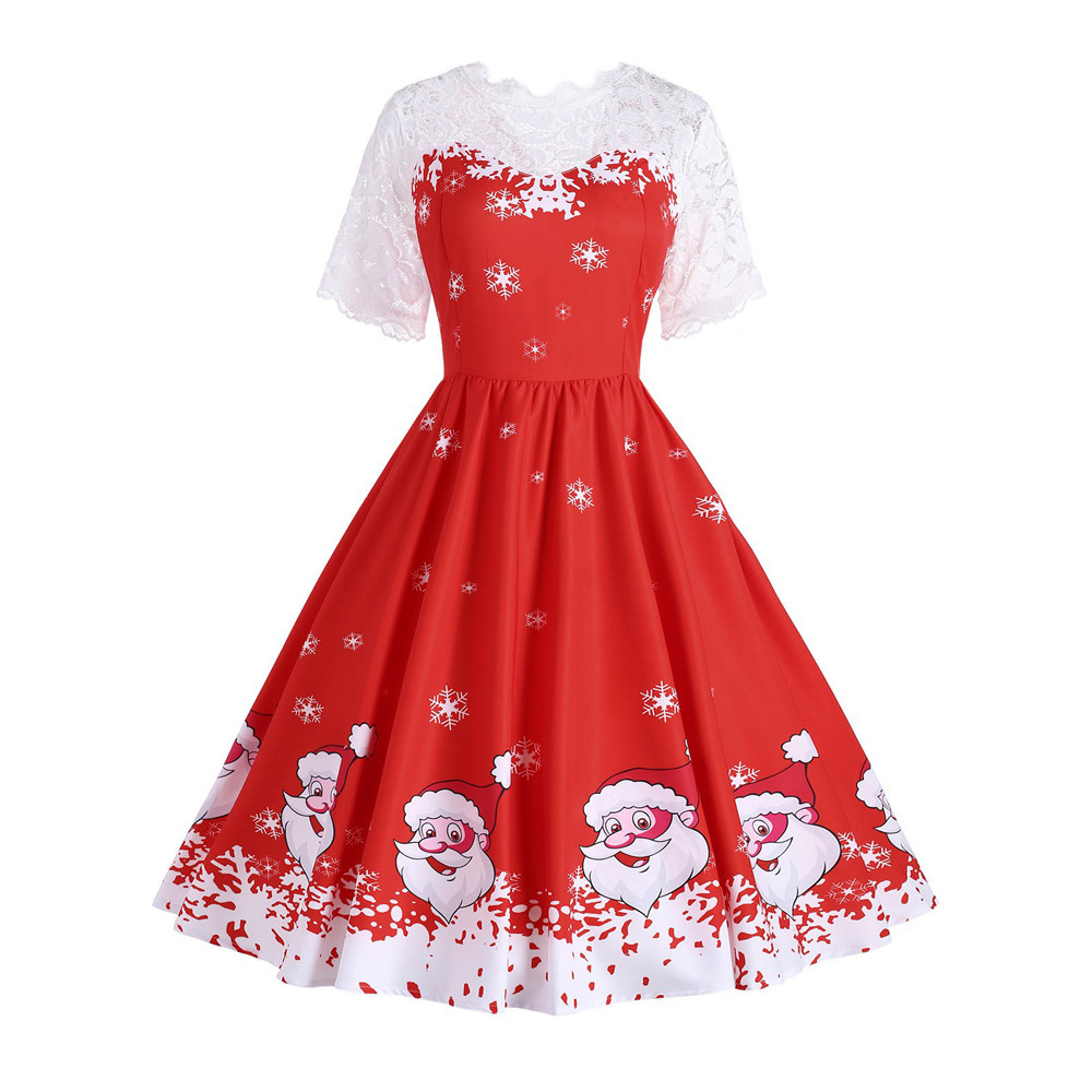 New Female Dresses Fashion Women Christmas print Lace Short sleeve Patchwork Printing Vintage Sexy Gown Party Dress Vestidos