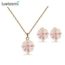 Teemi New Russian Hot Design Luxury Trendy Perfect Champagne Gold Rainbow Cubic Zircon Girls Flower Necklace Earrings Set