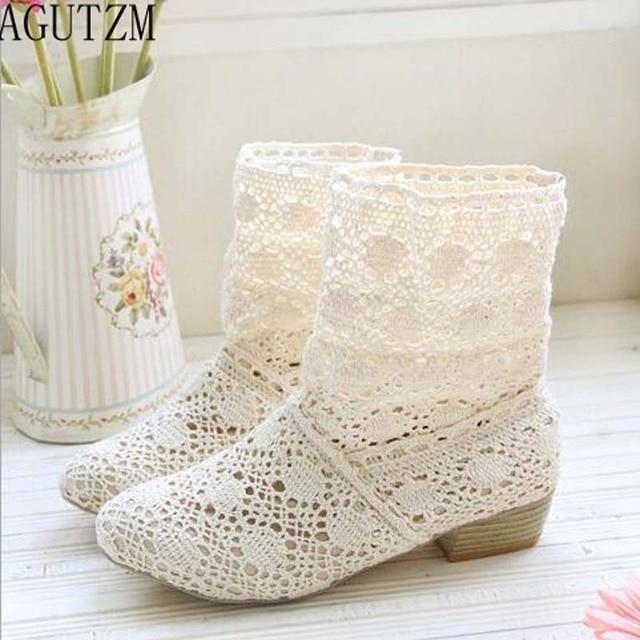 Agutzm crochet verano botas botines 2018 con los nuevos zapatos ...