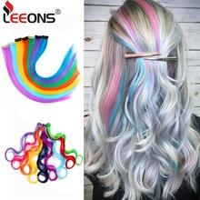 Leeons синтетические волосы для наращивания с зажимом, термостойкие волосы для наращивания, радужные волосы для детей и женщин, волнистые стильные 20 дюймов