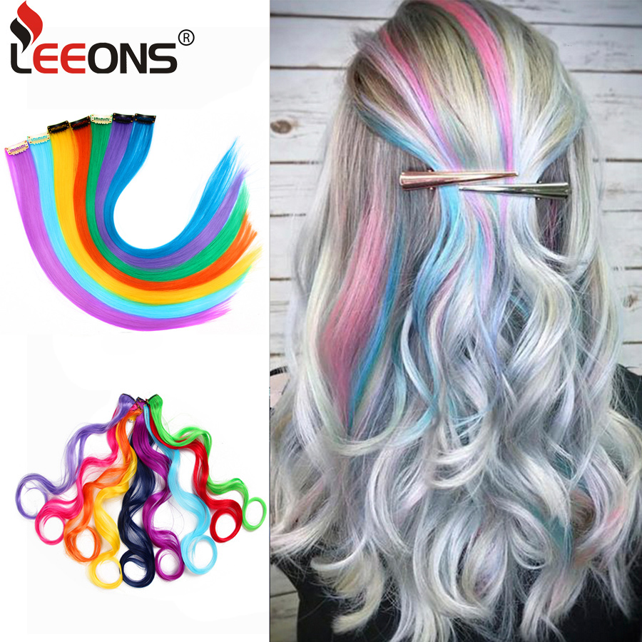 Leeons Synthetic Hair Extensions With Clip Heat Resistant Hair Extensions Rainbow Hair For Kids And Women Wavy Style 20 Inch