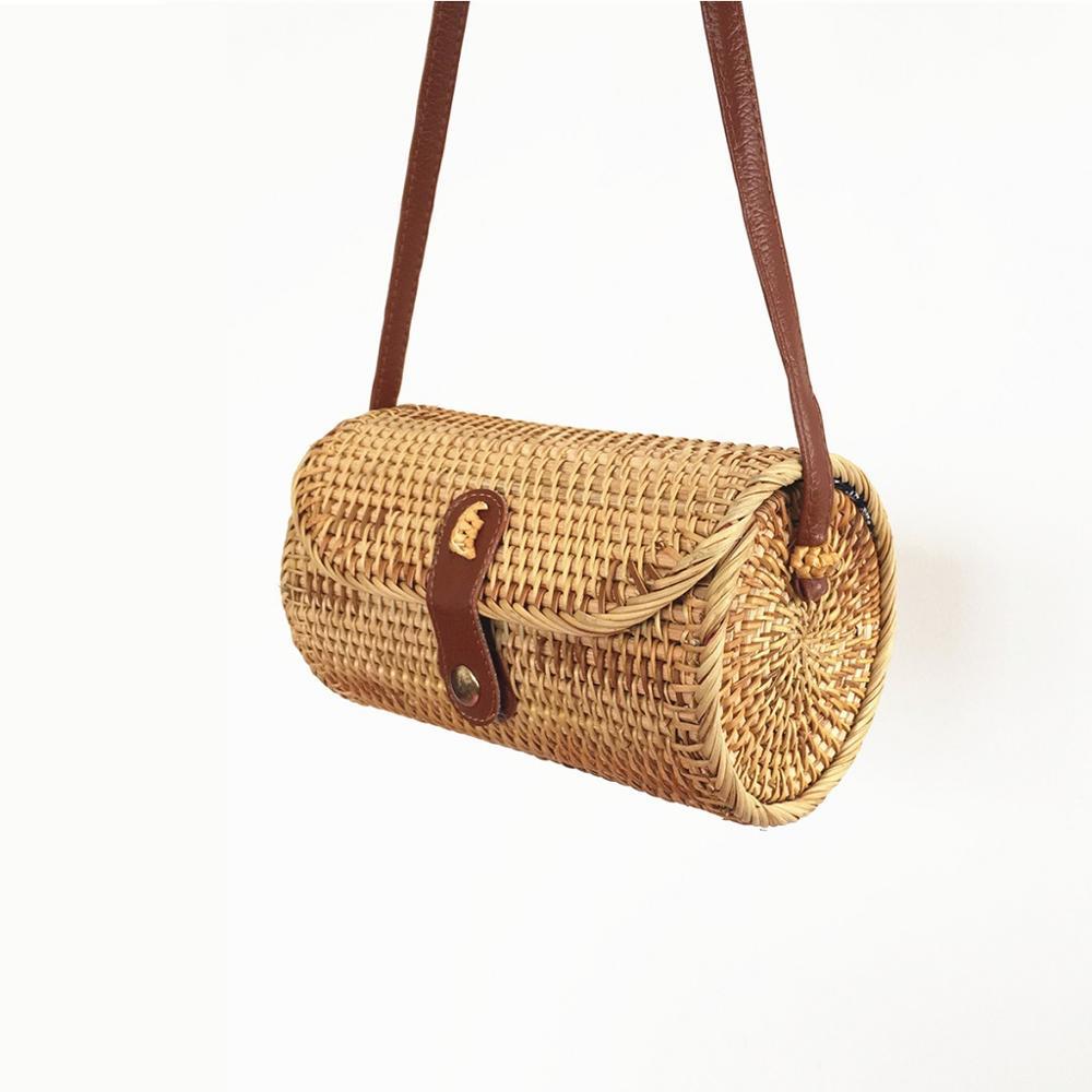 Style rétro rotin tissé sac naturel mode plage sac à main pour dames panier de rangement rond paille fourre-tout