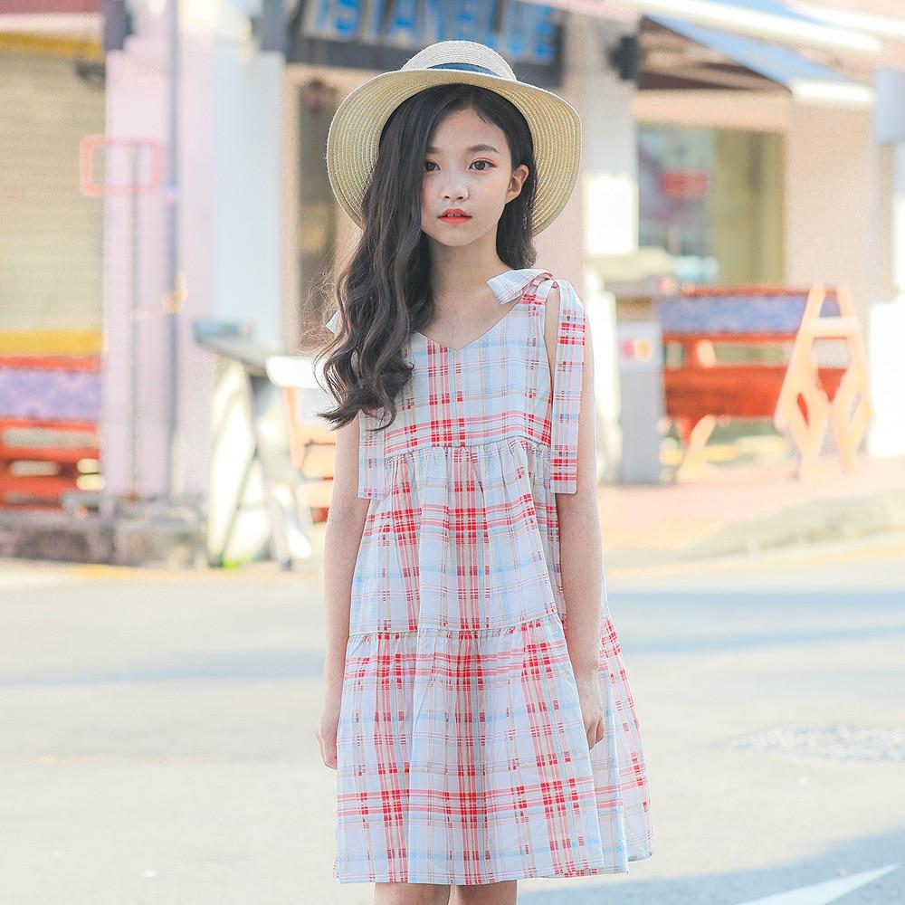 Teenage Kids Dresses for Girls Princess Dress Pink Blue Plaid Sling Dress 2019 Summer Children Clothes Kids Outfits 10 12 Years