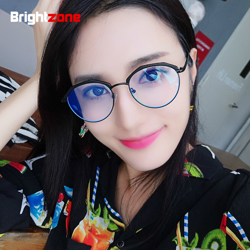 7460a8b5e52 Brightzone New Pattern Anti-Blue Light Glasses Men Women Spectacle Frame  Vintage Ancient Ways Half Rim Eye-brow Plain Eyeglasses. 1 order