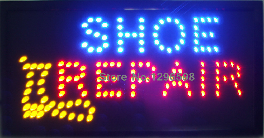 CHENXI Led shoe repair shop open neon sign custom led sign 10*19 inch semi outdoor Ultra Bright advertising Running signage