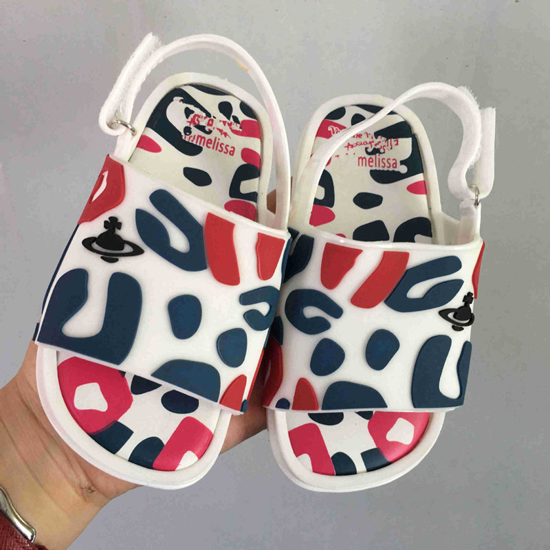 Melissa 2018 Summer Leopard Print Girl Jelly Sandals Shoes Breathable Baby Beach Sandals Melissa Girls Jelly Sandals Water Shoes