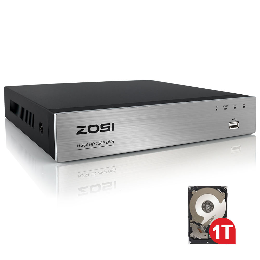 ZOSI 4 Channel AHD 720P DVR Security DVR Recorder with HDMI Playback Internet Smartphone Remote Accessible