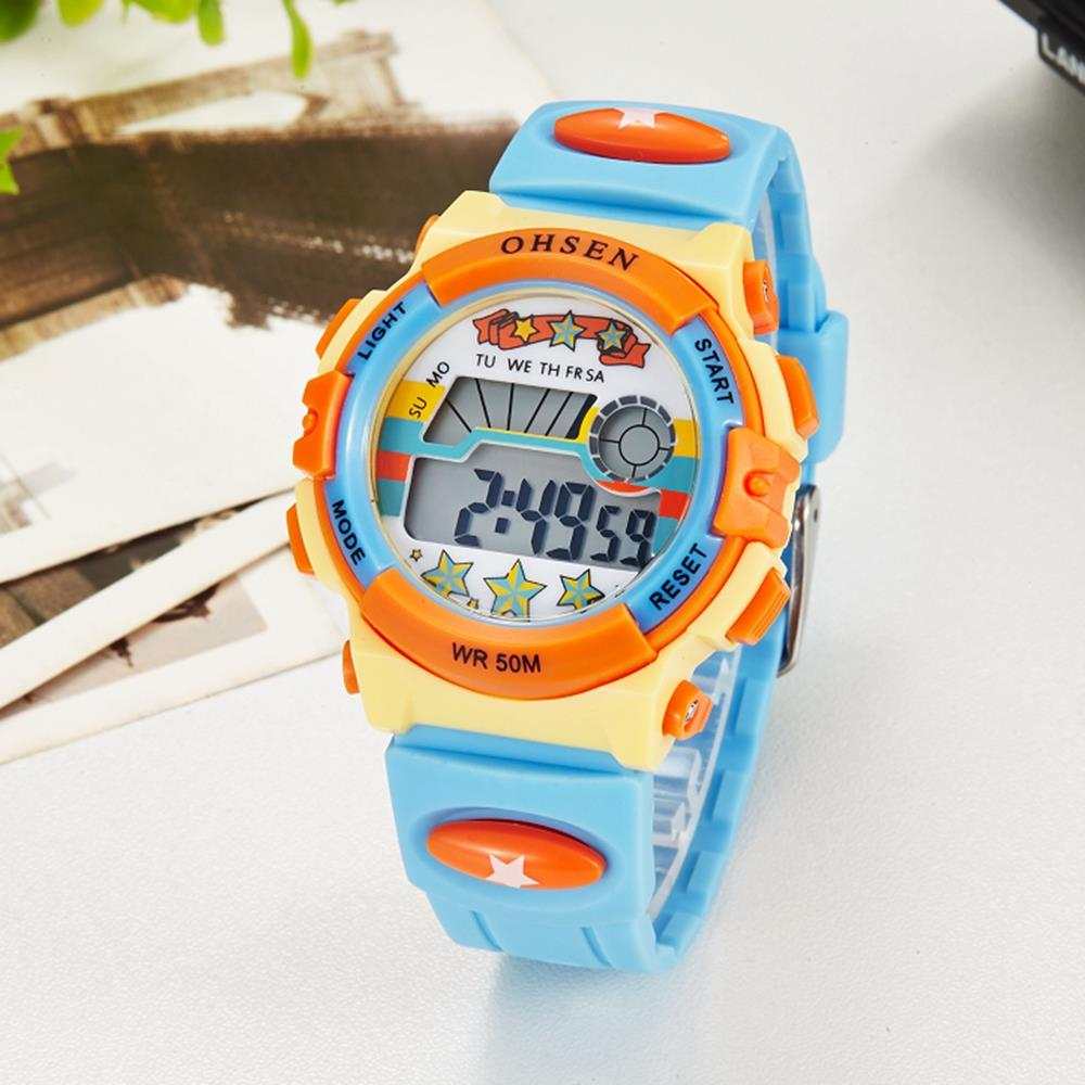 Original OHSEN Brand Kids Boys Digital LCD Wristwatch Gifts Blue Rubber Band Children Electronic Sport 50M Swim Waterproof Watch