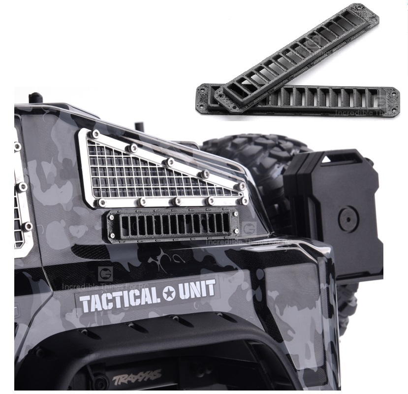 2PCS TRX4 TACTICAL UNIT Side Body Air Intake Grill 3D Printing Anti-skid Plate Intake Grille for 1/10 Rock Crawler RC Cars