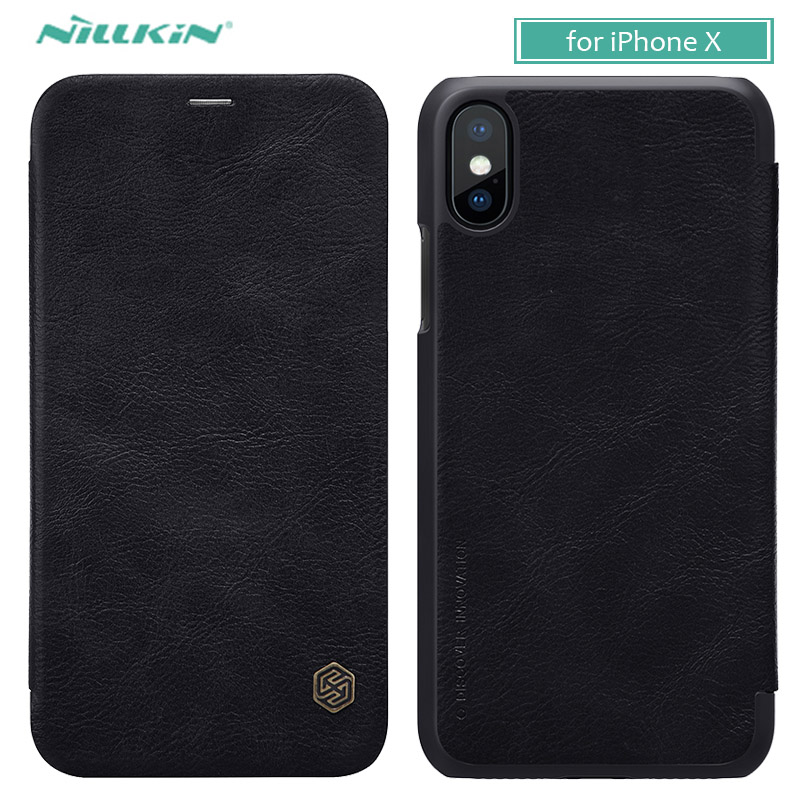 Para iphone x 10 8 7 6 6 s capa nillkin qin luxo phone flip leather case para iphone 8 plus 7 plus 6 s plus carteira slot para cartão