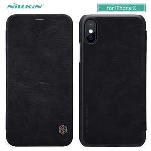 for iPhone X 10 8 7 6 6S Cover Nillkin Qin Luxury Phone Flip Leather Case for iPhone 8 Plus 7 Plus 6s Plus Wallet Card Slot Case