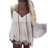 Women White Puff Sleeve Blouses Off Should Top Sexy Soft Solid Cover Ups Beach Shirts Women