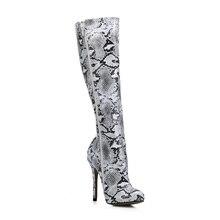 Sexy Party Stiletto High Heel Women Knee-High Boots Stivali al Ginocchio Donna Tacco Alto a Spillo Modisch Abiball YJ0640CBT-b8