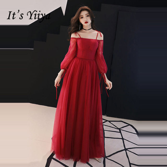 It s YiiYa Evening Dress 2018 Wine Red Spaghetti Strap Boat Neck Bow A-line  Floor-length Dinner Gowns SB019 robe de soiree dcc79118a81d