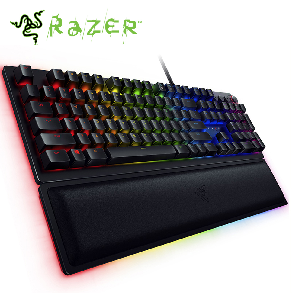 Razer Huntsman Elite Wired Mechanical Gaming Keyboard RGB Backlit Ergonomic Wrist Rest Tactile Keyboard Gaming For