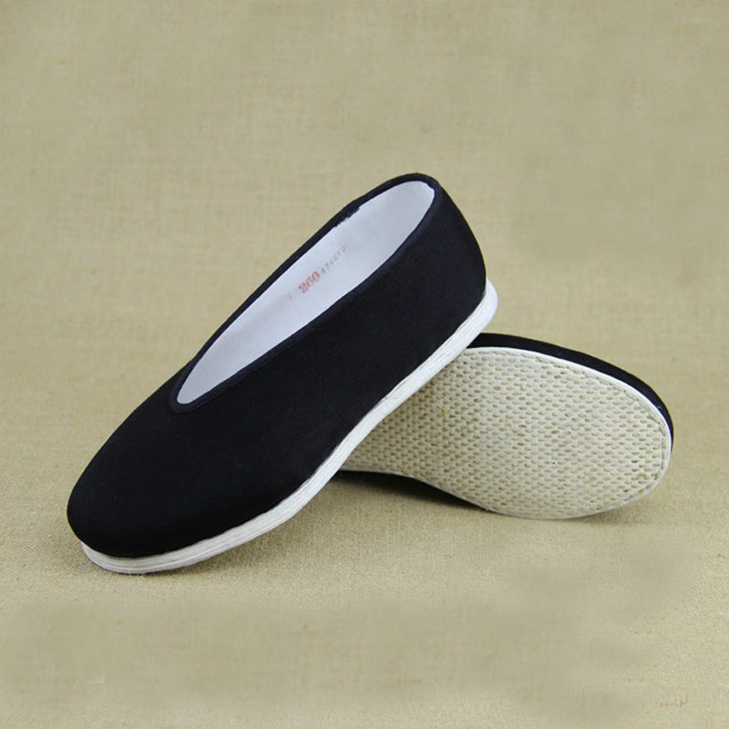 Unisex Black Chinese  Cotton-made shoes for Martial Art Kung Fu wushu Tai Chi Slipper Bruce Lee men shoes Eur size 38-47