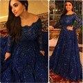 Azul marinho 2016 Vestidos de Noite Com Mangas Compridas Vestidos Formais Para Festa de Casamento Comunhão Vestido De Festa Plus Size chri