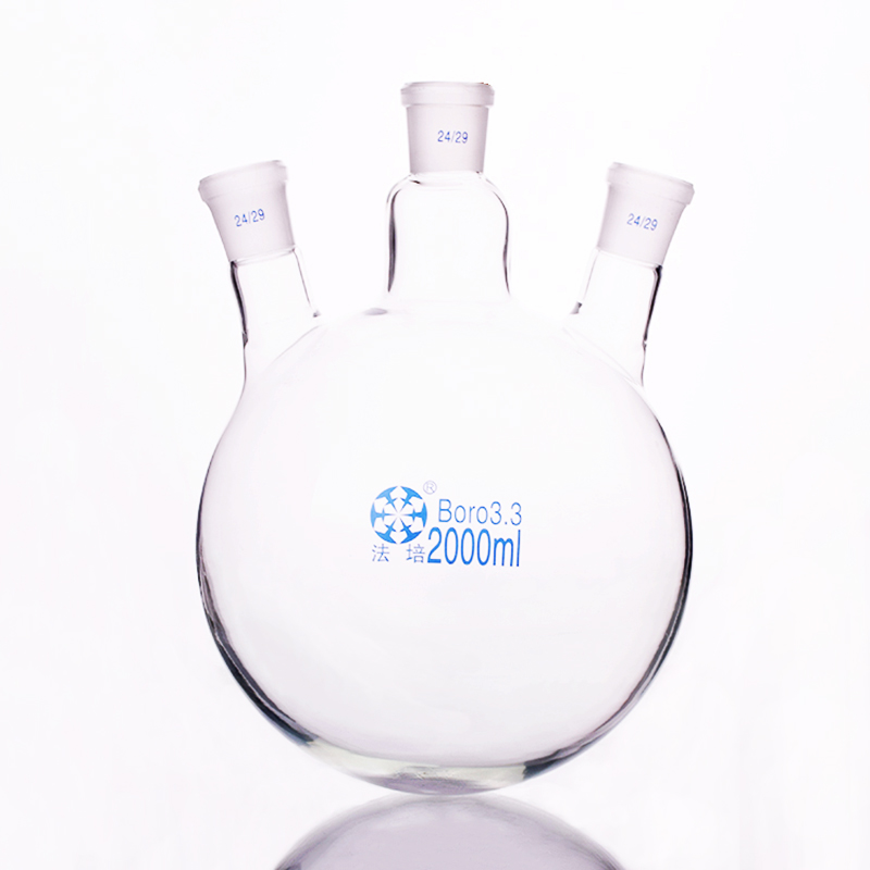 Three-necked flask oblique shape,with three necks standard grinding mouth,Capacity 2000ml,Middle joint 24/29,lateral joint 24/29 цена