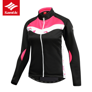 Santic Winter Cycling Jacket Women Pink Long Windproof Thermal Warm Bike Coats MTB Road Bicycle Outdoor Jacket Ropa Ciclismo