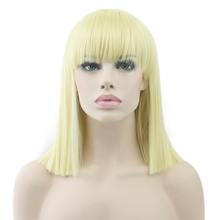 Soowee Short Straight None Lace Wig High Temperature Fiber Synthetic Hair Blonde Black Women Party Hair Piece Cosplay Wigs