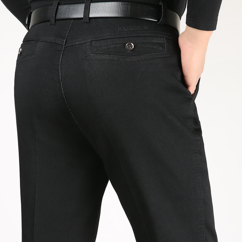 Plus Size 30-40 Men Quality Denim Fabric   Jeans   Homme High Waist Stretch Straight Solid Pants Male Classic Leisure Trousers Xnn59