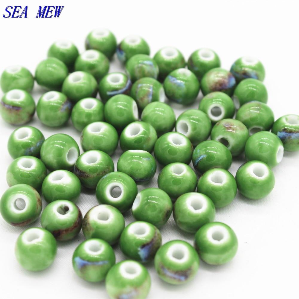ΞSea Mew 50 unids verde esmalte de porcelana de cerámica del grano ...