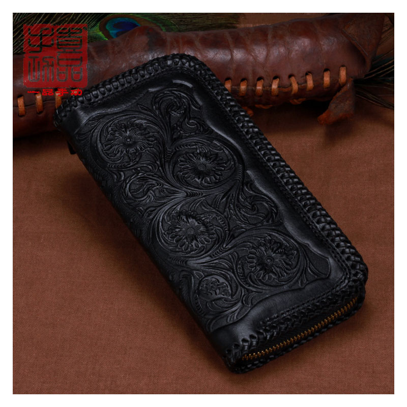 Original leather carving long large capacity zipper wallet First layer leather vegetable tanned leather Tang grass Japanese styl