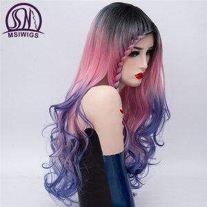Image 2 - MSIWIGS Peluca de pelo largo con trenzas para mujer, cabello ondulado, trenzado sintético, arcoíris, Morado, azul y rosa