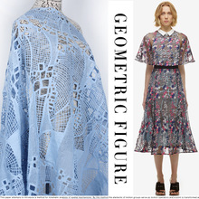 New arrival fashion quality water soluble lace blue fabric net embroidery fabric customize handmade fabric BC