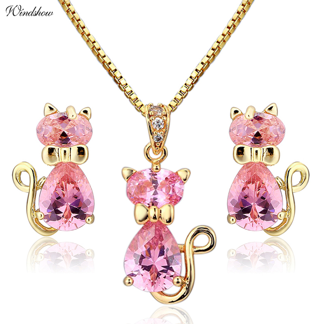 Cute Cat Stud Earrings Necklaces   Pendants Pave Pink CZ Gold Color Jewelry  Sets For Women Children Kids Girls Jewellery Gifts 3411971beb03
