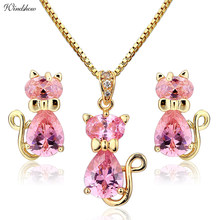 Cute Cat Stud Earrings Necklaces & Pendants Pave Pink CZ Gold Color Jewelry Sets For Women Children Kids Girls Jewellery Gifts(China)