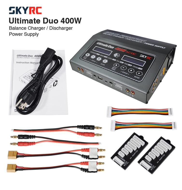SKYRC D400 Ultimate Duo 400W AC/DC Battery Balance Charger/Discharger/Power Supply skyrc sk 800084 01 b6 mini 6a 60w dc11 18v professional balance charger discharger w t 2 6lcd