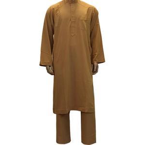 Image 4 - 2PCS Islamic Saudi Mens Abaya Muslim Clothing Arabic Robe+Pant Dubai Thobe Kaftan Dress Dishdasha Thoub Jubba Stand Collar Suit