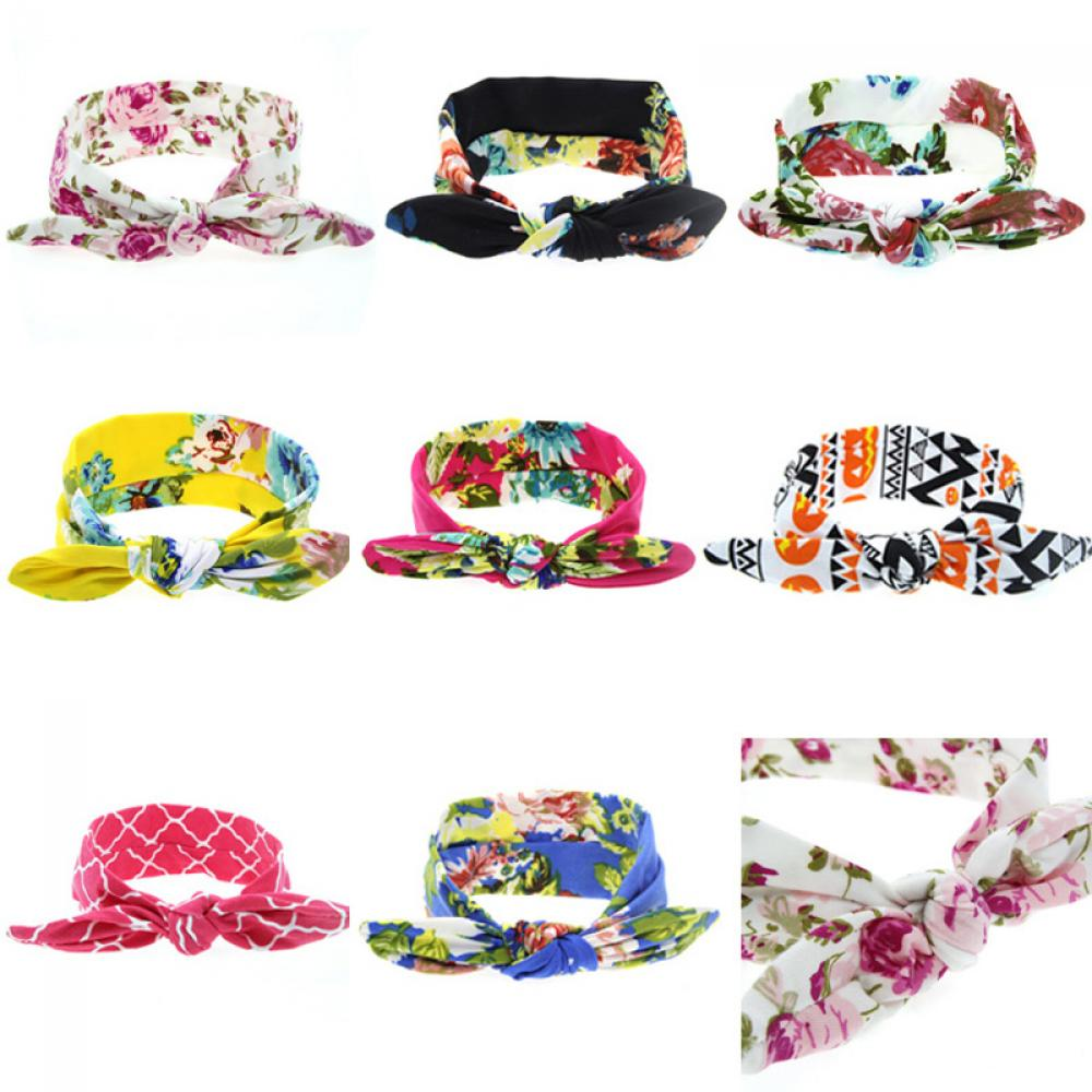 1PC Cute Fashion Unisex Girls Boys  Flowers Print Floral Rabbit Ears Soft Cotton Hair Band Turban Knot Headband Hair Accessory 7 colors rabbit ears beanie baby girls boys toddler cotton soft turban knot cap beanie hat rabbit ears knot child caps