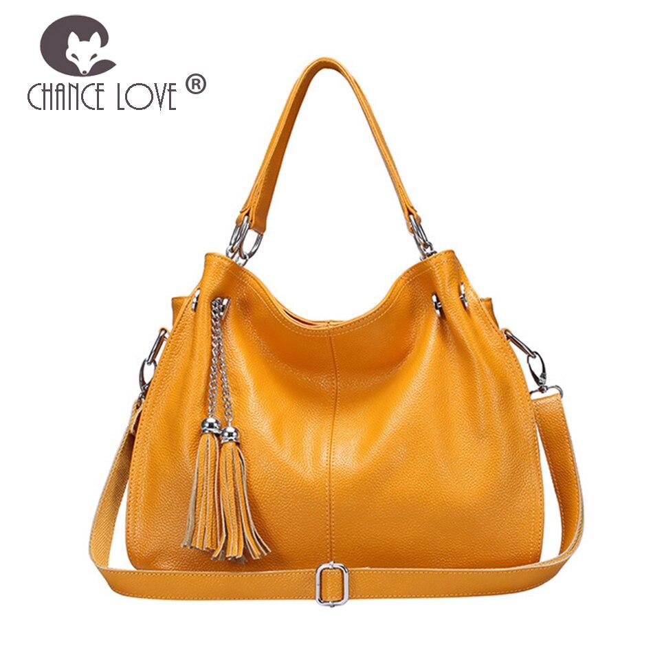 Chance Love 2018 summer new women's Genuine Leather handbag casual tassel Casual tote bag gold blue shoulder slung lady bag цена