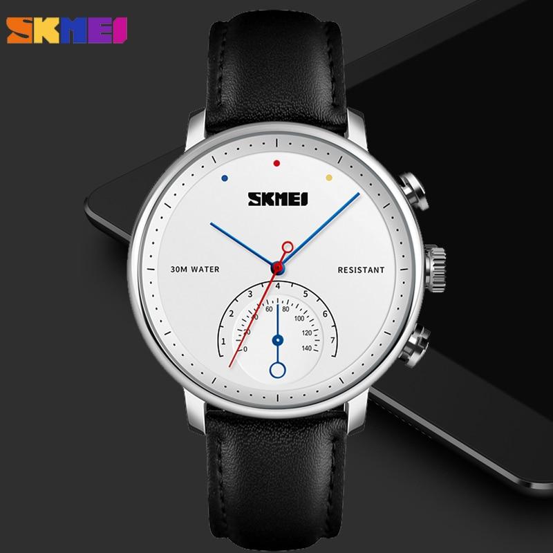 Azul del reloj SKMEI nueva moda reloj de cuarzo de los hombres de negocios Simple correa de reloj de cuero de hombre reloj impermeable reloj de pulsera reloj Masculino