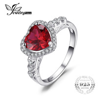 2 48ct Pigeon Blood Red Ruby Heart Ring 925 Solid Sterling Silver Women Fashion Wedding Set