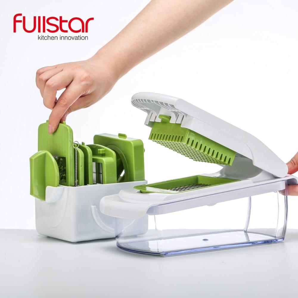 Accesorio de cocina mandolina Slicer cuchillo de alimentos chopper vegetales Cutter Peeler, cortar, rallador herramienta de cocina con 7 Dicing cuchillas