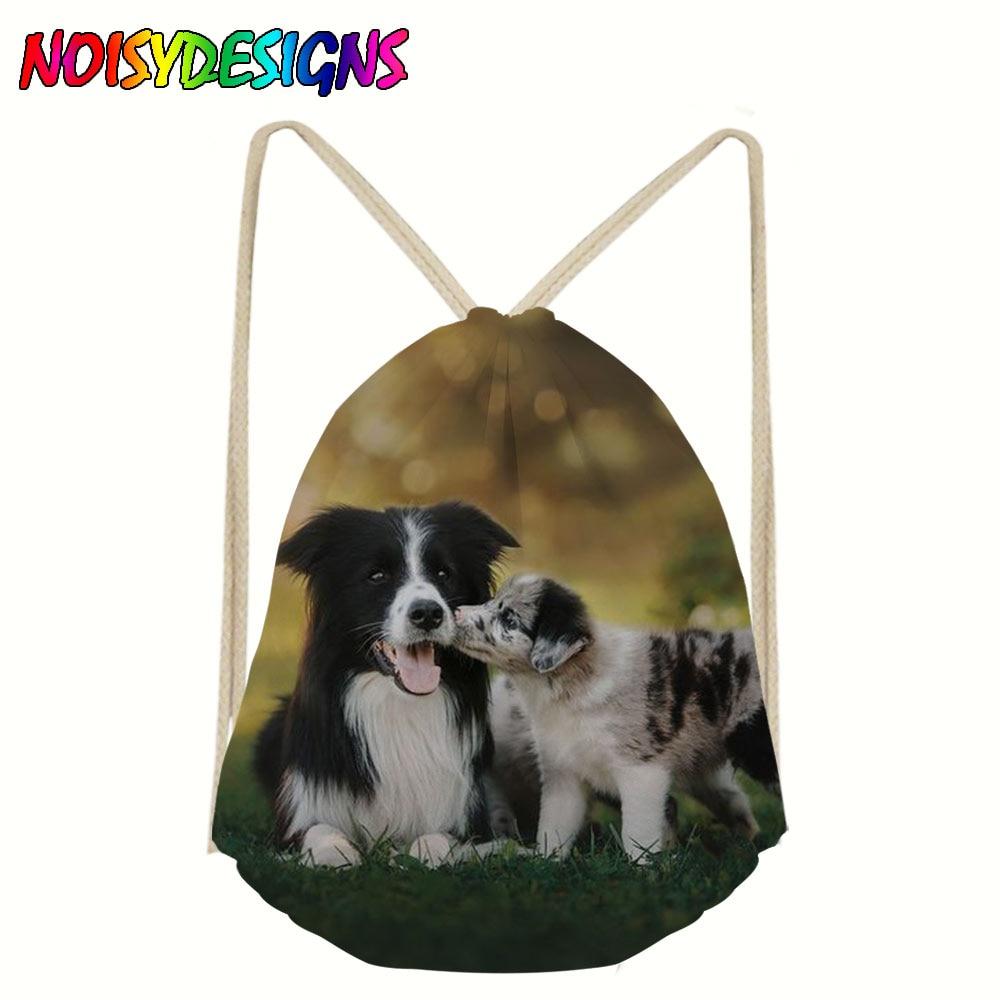 Border Collie Drawstring Backpack For Men Tote String Shoulder Bag Teenager Boys Storage Package Bags Dog Pattern Gym Rucksack