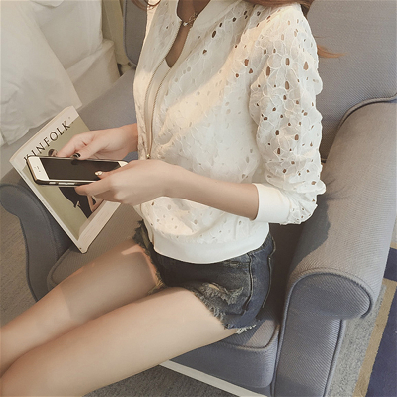 Hzirip Lace Hollow Out Jackets 2018 Spring Summer New Casual Slime Women Thin Jacket White Black Lady Shorts Outwear Plus Size 3