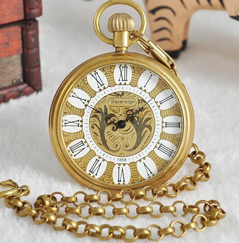 Vintage Roman Luminous Steampunk Necklace Mens Automatic Mechanical Gold Watches