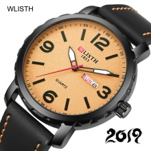 WLISTH Sport Week Wrist Watch Men Luxury Genuine Leather Quartz Waterproof Day Date Clock Mens Wristwatch Relojes Hombre