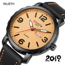 купить WLISTH Sport Week Wrist Watch Men Luxury Genuine Leather Quartz Watch Waterproof Day Date Clock Mens Wristwatch Relojes Hombre по цене 911.19 рублей